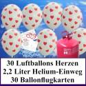 Luftballons zur Hochzeit steigen lassen, Helium- Einwegbehälter mit 30 Luftballons in Weiß mit Herzen in Rot und Ballonflugkarten