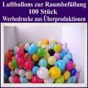 Raumbefüllung Luftballons, Latex 28-30 cm Ø, 100 Stück, Werbedrucke aus Überproduktionen