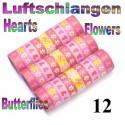 Luftschlangen Herzen & Blumen 12 Rollen