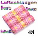 Luftschlangen Herzen & Blumen 48 Rollen
