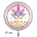 Magische Geburtstagswünsche, 1. Geburtstag. Unicorn Flowers mit Ballongas zum Geburtstag