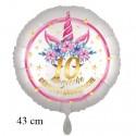 Magische Geburtstagswünsche, 10. Geburtstag. Unicorn Flowers mit Ballongas zum Geburtstag