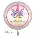 Magische Geburtstagswünsche, 3. Geburtstag. Unicorn Flowers mit Ballongas zum Geburtstag