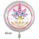 Magische Geburtstagswünsche, 4. Geburtstag. Unicorn Flowers mit Ballongas zum Geburtstag