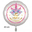 Magische Geburtstagswünsche, 5. Geburtstag. Unicorn Flowers mit Ballongas zum Geburtstag