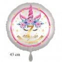 Magische Geburtstagswünsche, 7. Geburtstag. Unicorn Flowers mit Ballongas zum Geburtstag