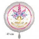 Magische Geburtstagswünsche, 9. Geburtstag. Unicorn Flowers mit Ballongas zum Geburtstag