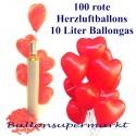 Maxi-Set 1R, 100 rote Herzluftballons mit Helium