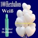 Maxi-Set Hochzeit, 100 weiße Herzluftballons mit Helium