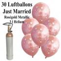 Midi-Set, Luftballons zur Hochzeit steigen lassen, 30 Hochzeitsluftballons in Rosegold, Just Married, mit Helium