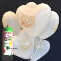 Herzluftballons Super-Mini-Set, 12 weiße Hochzeitsballons Just Married mit Helium