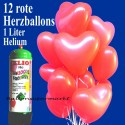 Herzballons Super-Mini-Set, 12 rote Hochzeitsballons mit Helium