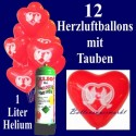 Herzluftballons Super-Mini-Set, 12 rote Herzballons-Tauben, mit Helium-Einweg