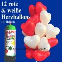 Herzballons Super-Mini-Set, 12 rote und weiße Hochzeitsballons mit Helium