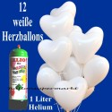 Herzballons Super-Mini-Set, 12 weiße Hochzeitsballons mit Helium
