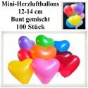 Herzluftballons, Mini-Herzballons 100 Stück, Bunt Gemischt