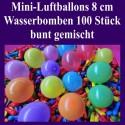 Luftballons Mini 8 cm, 100 Stück, Wasserbomben, bunt gemischt