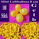 Luftballons Mini 8 cm, 100 Stück, Wasserbomben, Gelb
