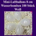 Luftballons Mini 8 cm, 100 Stück, Wasserbomben, Weiß