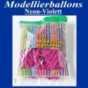 Modellierballons, Neon-Violett, 100 Stück