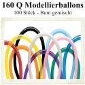 100 Stück Modellierballons, Qualatex, 160 Q - Bunt gemischt