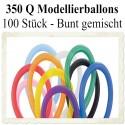 100 Stück Modellierballons, Qualatex, 350 Q - Bunt gemischt