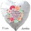 Schön, dass es Dich gibt! Beste Mama der Welt! 71 cm großer Herzluftballon, weiß,  aus Folie mit Ballongas-Helium zum Muttertag