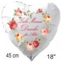 Liebe Mama! Danke für Alles! Weißer Herzluftballon aus Folie mit Ballongas-Helium zum Muttertag