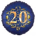 Luftballon aus Folie zum 20. Geburtstag, Satin Navy Blue, 45 cm, rund, inklusive Helium