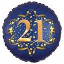 Luftballon aus Folie zum 21. Geburtstag, Satin Navy Blue, 45 cm, rund, inklusive Helium