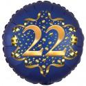 Luftballon aus Folie zum 22. Geburtstag, Satin Navy Blue, 45 cm, rund, inklusive Helium