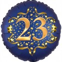 Luftballon aus Folie zum 23. Geburtstag, Satin Navy Blue, 45 cm, rund, inklusive Helium
