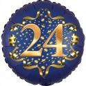 Luftballon aus Folie zum 24. Geburtstag, Satin Navy Blue, 45 cm, rund, inklusive Helium