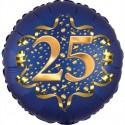 Luftballon aus Folie zum 25. Geburtstag, Satin Navy Blue, 45 cm, rund, inklusive Helium
