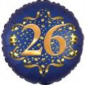 Luftballon aus Folie zum 26. Geburtstag, Satin Navy Blue, 45 cm, rund, inklusive Helium