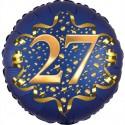 Luftballon aus Folie zum 27. Geburtstag, Satin Navy Blue, 45 cm, rund, inklusive Helium