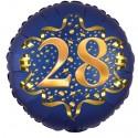 Luftballon aus Folie zum 28. Geburtstag, Satin Navy Blue, 45 cm, rund, inklusive Helium
