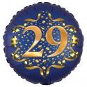 Luftballon aus Folie zum 29. Geburtstag, Satin Navy Blue, 45 cm, rund, inklusive Helium