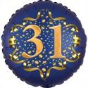 Luftballon aus Folie zum 31. Geburtstag, Satin Navy Blue, 45 cm, rund, inklusive Helium