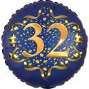 Luftballon aus Folie zum 32. Geburtstag, Satin Navy Blue, 45 cm, rund, inklusive Helium