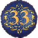 Luftballon aus Folie zum 33. Geburtstag, Satin Navy Blue, 45 cm, rund, inklusive Helium