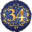 Luftballon aus Folie zum 34. Geburtstag, Satin Navy Blue, 45 cm, rund, inklusive Helium