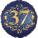 Luftballon aus Folie zum 37. Geburtstag, Satin Navy Blue, 45 cm, rund, inklusive Helium