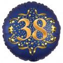 Luftballon aus Folie zum 38. Geburtstag, Satin Navy Blue, 45 cm, rund, inklusive Helium