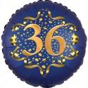 Luftballon aus Folie zum 36. Geburtstag, Satin Navy Blue, 45 cm, rund, inklusive Helium