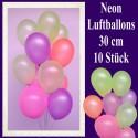 Luftballons Latex 30 cm Ø Neon 10 Stück