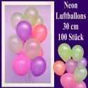 Luftballons Latex 30 cm Ø Neon 100 Stück