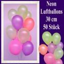 Luftballons Latex 30 cm Ø Neon 50 Stück