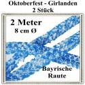 Oktoberfest-Girlanden, Bayrisches Muster, 2 Meter x 8 cm, schwer entflammbar, 2 Stück-Set