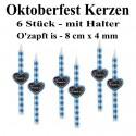 Oktoberfest-Kerzen, O' zapft is, Bayrische Rauten, 6 Stück mit Halter